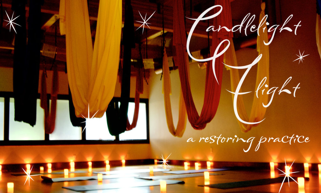Candlelight Flight: A restorative aerial yoga practice