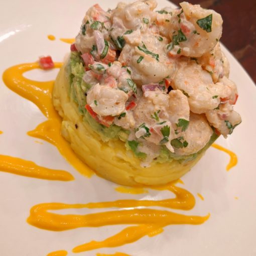Causa with Shrimp Salad